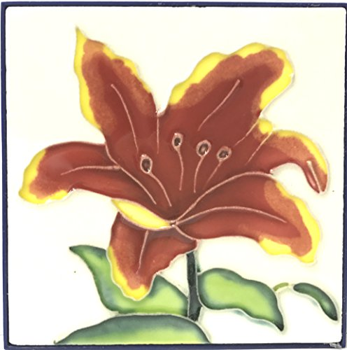 1 , RED IRIS , Decorative Tile, Art on a Ceramic Tile, about, 4