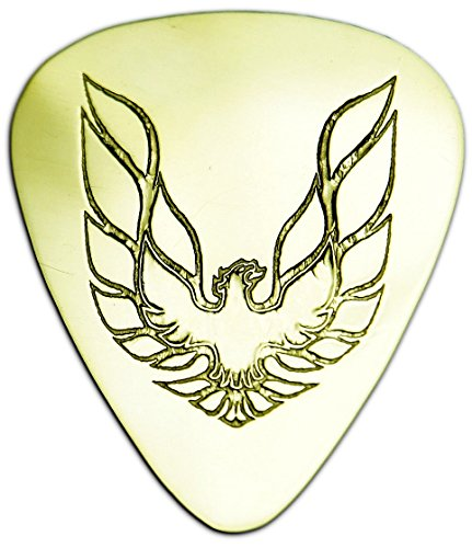 Unique & Custom [0.38mm Thin Gauge - Traditional Style Semi Tip] Hard Luxury Guitar Pick Made of Genuine Solid Brass w/ Classic Muscle Car Firebird Phoenix Design