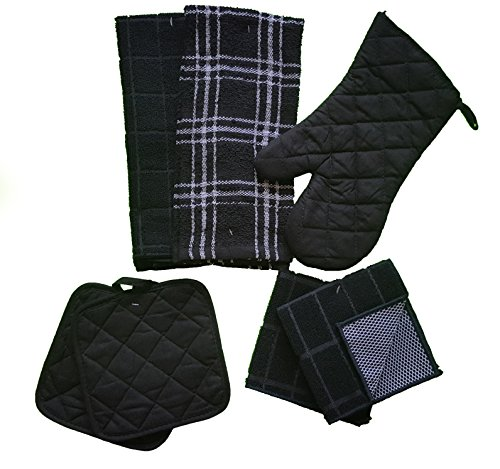 Kitchen Linen Set Black/White 7 Piece Bundle – 2 Dish Towels, 2 Dishcloths, 2 Potholders, and 1 Oven Mitt by The Spotted Moose