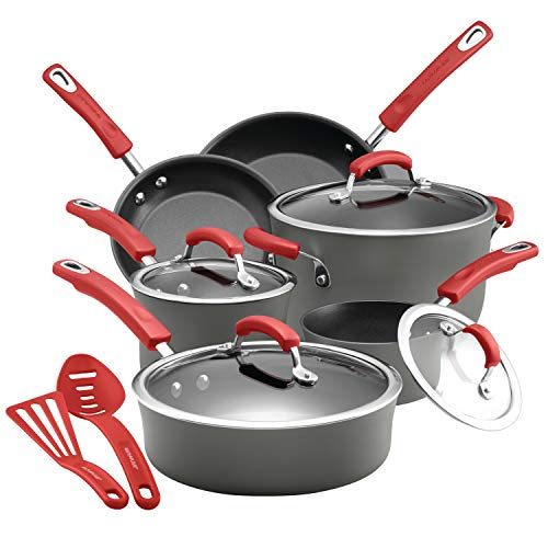 Rachael Ray 87661 14-Piece Hard Anodized Aluminum Cookware Set Mixed ()