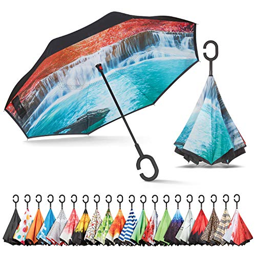 Sharpty Inverted Umbrella, Umbrella Windproof, Reverse Umbrella, Umbrellas for Women with UV Protection, Upside Down Umbrella with C-Shaped Handle ()