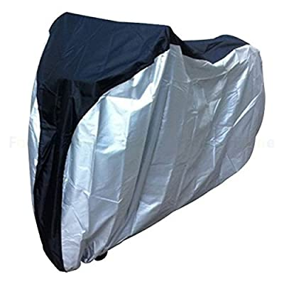 AYPBAIM Outdoor Bicycle Waterproof Cover 190T Heavy Duty - For Mountain Road, Electric and Cruiser Bikes - Black Silver