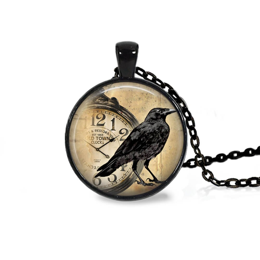 Project Pinup 25mm Raven with Pocket Watch Glass Black Cabochon 18'' Chain Necklace