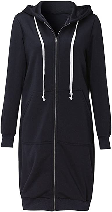 Black Women Solid Color Casual Loose Sweatshirts Zipper Hoodie Coat Long Jacket Outerwear with Pockets