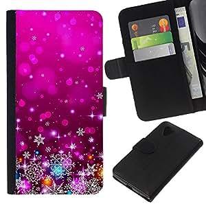 For LG Nexus 5 D820 D821 Case , Xmas Christmas Purple Lights Decor - la tarjeta de Crédito Slots PU Funda de cuero Monedero caso cubierta de piel