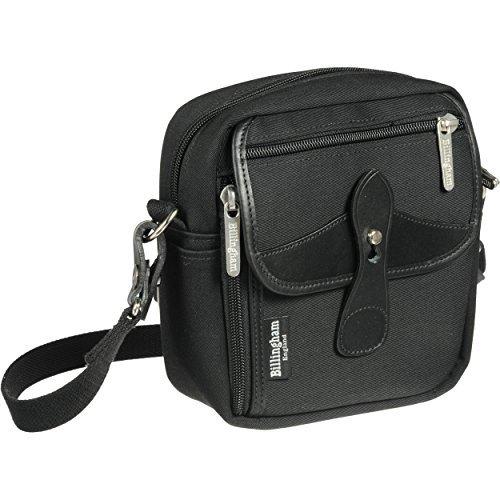 Brass Accents Bolt - Billingham Stowaway Pola Shoulder Bag - Black Canvas/Black Leather 500701-01