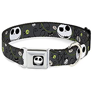 "Buckle Down Seatbelt Buckle Dog Collar - NBC Jack Expressions/Halloween Elements Gray - 1"" Wide - Fits 15-26 Neck - Large"