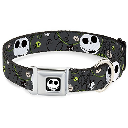 Buckle-Down Seatbelt Buckle Dog Collar - NBC Jack Expressions/Halloween Elements Gray - 1.5