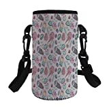 Small Water Bottle Sleeve Neoprene Bottle Cover,Jellyfish,Under Ocean Life Illustration with Jellyfish Fish Coral Plants Small Water Bubbles Fun Art,Pink Green,Great for Stainless Steel and Plastic/Gl