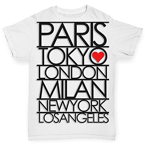 TWISTED ENVY Infant Baby Tshirts Paris, Milan, London, New York - Fashion Capitals of The World White 6-12 Months