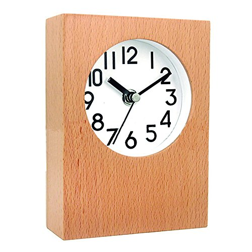 DEEPPRO Silent Square Shape Non Ticking Digital Quiet Sweep Wooden Desk Clock and Table clock - Square Face Frame For Best Shape