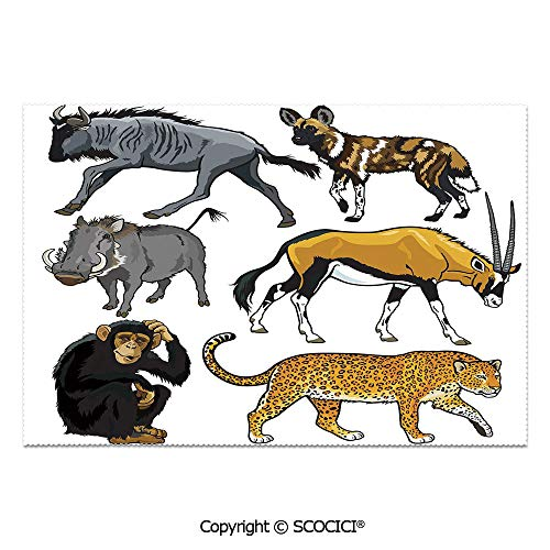 (Place Mats Set of 6 Personalized Printed Non-Slip Table Mats Collection of Cartoon Style Wild Animals of Africa Fauna Habitat Savannah Wilderness Decorative for Dining Room Kitchen Table Decor)