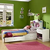 South Shore Logik Kids Pure White Twin Wood Mates Storage Bed 3 Piece Bedroom Set