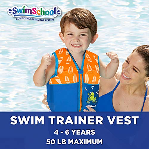 New & Improved SwimSchool Swim Trainer Vest, Flex-Form, Adjustable Safety Strap, Easy on and Off, Medium/Large, Up to 50 lbs., Blue/Orange