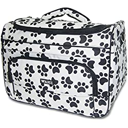 Wahl Professional Animal Travel Tote Bag with Zipper, Black and White Paw Print Design (#97764-001)