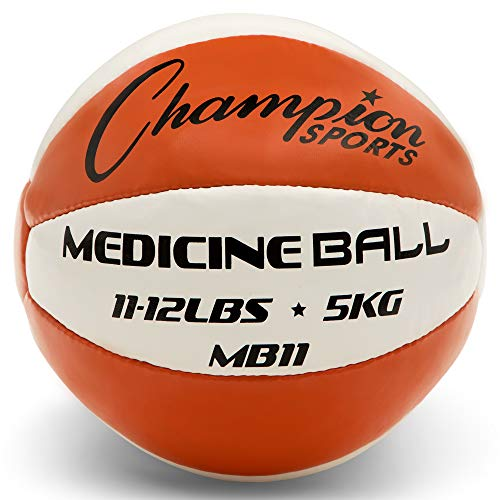Champion Sports Exercise Medicine Balls, 8 Sizes, Leather with No-Slip Grip – Weighted Med Ball Set for Weight Training, Stability, Plyometrics, Cross Training, Core Strength – Heavy Workout Ball