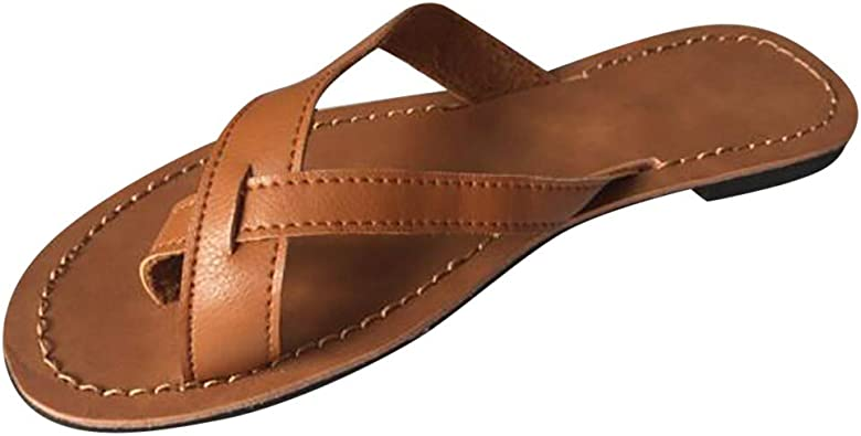 Boho Sandalen Damen Bohemian Flach Zehentrenner, Frauen Flip Flops Sommer Strand Schuhe Bequeme Sommerschuhe Schöne Zehenstegsandalen Celucke