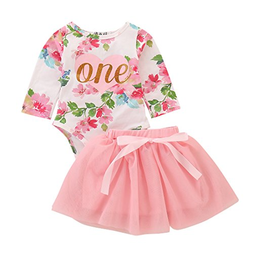 2Pcs Set Baby Girls 1st Birthday Tutu Clothes Outfit Dress Long Sleeve Floral Romper Top+ Lace Skirt (Pink#2, 12-18 Months)