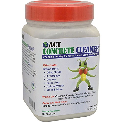 Concrete Cleaner Degreaser - ACT Concrete Cleaner and Degreaser - Industrial and Residential - Remove Oil, Grease, Animal, and Mildew Stains - Perfect For Your Driveway, Garage, or Warehouse - Biodegradable and Non-Toxic