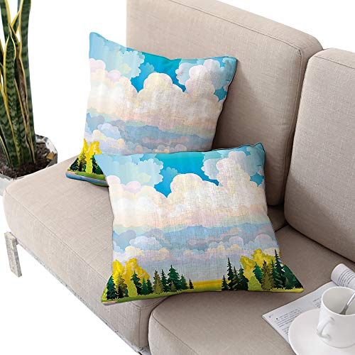 Josepsh Apartment Decor Collection Square Chaise Lounge Cushion Cover,Pastoral Autumn Scenery with Meadow and Fluffy Clouds in Northern Rural Painting Blue White Green W16 xL16 2pcs ()