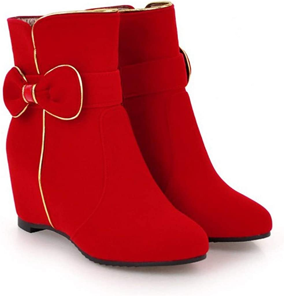 Fashion Womens Increase Bow Short Boots Wedge Ankle Zipper Mid Tube Snow Boots