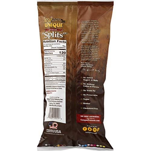 Unique Pretzels - Original Splits Pretzels, Delicious Vegan Snack Pretzels Individual Pack, Large OU Kosher Pretzels, 11 Oz Bags, 6 Pack