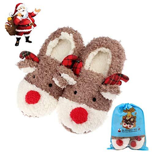 Christams Slippers for Women, Fluffy Slip On House Memory Foam Cute Animal Winter Slippers, Gifts for Girl Women …