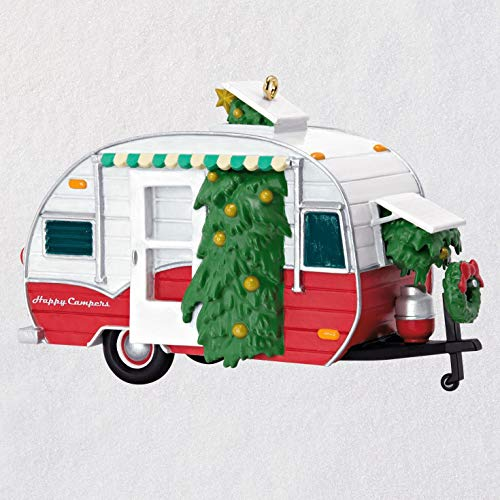 Hallmark Keepsake Christmas 2019 Year Dated Happy Campers Travel Trailer Ornament, Camping (Vintage Christmas Ornament Camper)