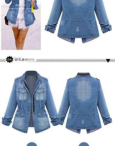 Manteau Manche Longue Coupe Ibàste Jeans Femme Vent 6qa5Rw0