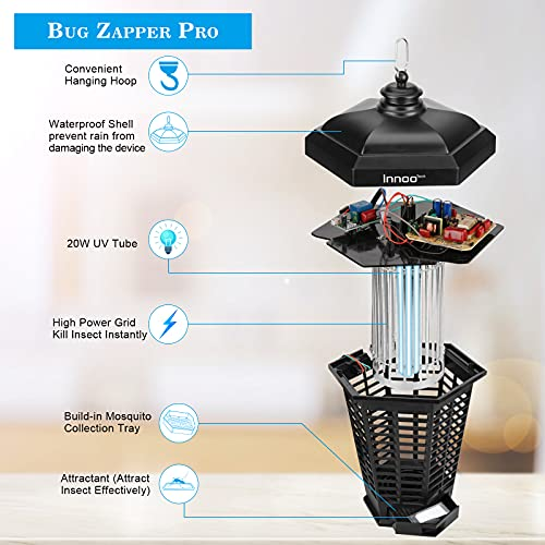 Electric Bug Zapper, Indoor and Outdoor Mosquito Zappers 4200V Waterproof IPX4 with UV Tube and Attractant 2 in 1 Trap Insect for Home Garden Backyard Patio Porch