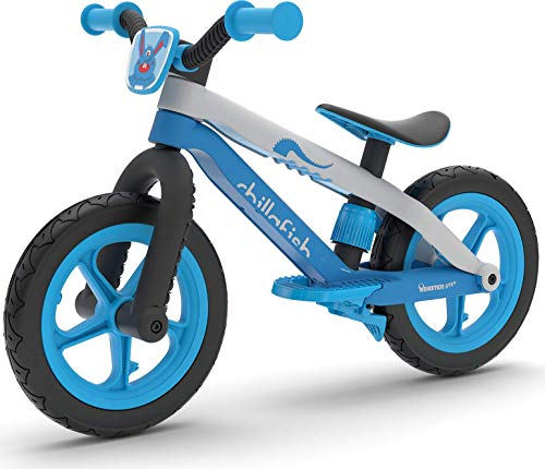 Chillafish Bmxie 2, BMX Styled Balance Bike with Integrated Footrest, Footbrake & Airless Rubberskin Tires, Blue (Renewed)