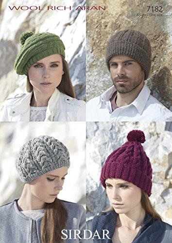 ee8258b80f4 Sirdar Ladies   Mens Hats   Berets Wool Rich Knitting Pattern 7182 Aran   Amazon.co.uk  Kitchen   Home