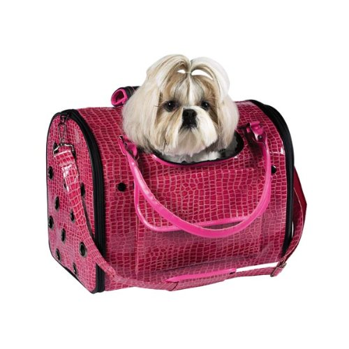 Zack & Zoey Crocodile Texture Pet Carriers, Medium, Pink