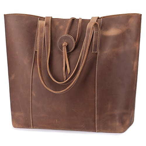 Genuine Leather Purse Tote Bag (S-ZONE Vintage Women Genuine Leather Tote Bag Purse with Removable Pouch (Light Brown))