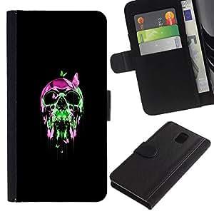 All Phone Most Case / Oferta Especial Cáscara Funda de cuero Monedero Cubierta de proteccion Caso / Wallet Case for Samsung Galaxy Note 3 III // Neon Chrome Pop Skull