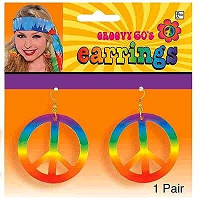 Tie Dye Peace Earrings: Toys & Games [5Bkhe1003368]