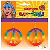 "Groovin '60s Costume Party Tie Dye Peace Earrings, Multi Color, 6"" X 5-3/4"" (Pkg  Size), 1-Pair"