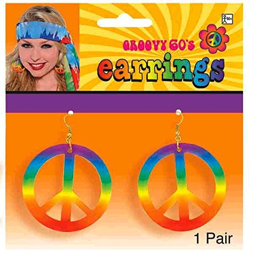 [earrings tie dye peace sign 60s] (60s Dress Up Costumes)