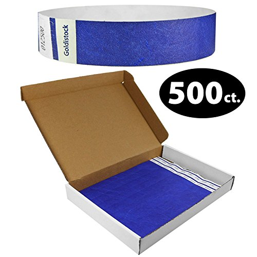 Goldistock Select Series with Box - Tyvek Wristbands Navy Blue 500 Count - 3/4