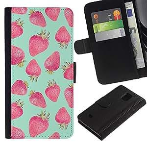 iBinBang / Flip Funda de Cuero Case Cover - Verde Rojo Acuarela - Samsung Galaxy S5 Mini, SM-G800, NOT S5 REGULAR!