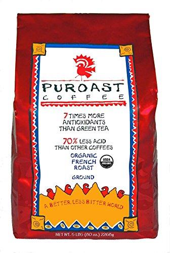Puroast Low Acid Coffee Organic French Roast Drip Grind, 5-Pound Bag