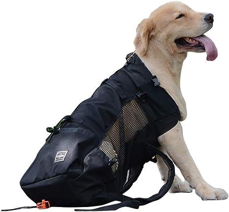 OMEM Sac à Dos pour Chien de Transport Animal de Compagnie Respirant et  Confortable pour la randonnée Les Voyages Le Sac de Sport (XL,Noir)