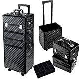 HST 4 in 1 Professional Rolling Makeup Nail Case Vanity Cosmetics Beauty Case Box Trolley Train Case (Diamond Black)