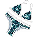 Sherry007 Womens Printed Cut Out Triangle Bikini Halter Racerback Swimsuit Beachwear