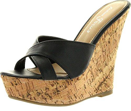 Fashion Focus Womens Ardo-39 Wedge Sandals,Black,10 (Focus Pictures)