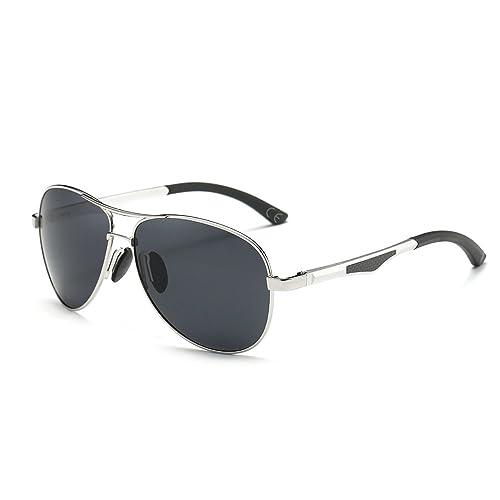 VeBrellen Clásico Polarizadas Aviador Gafas De Sol Al-Mg Metal Frame Gafas De Conducción AS003 (Silv...
