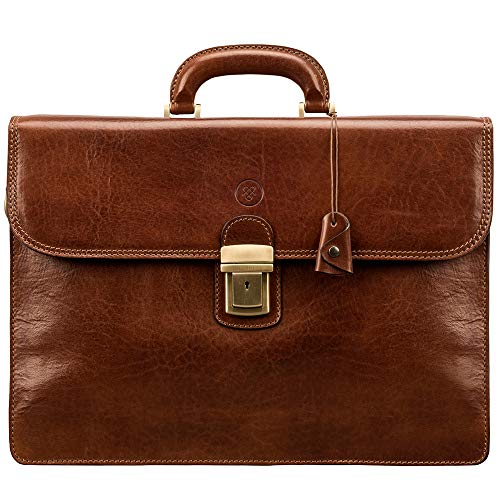 - Maxwell Scott Men's Classic Large Leather Briefcase - Paolo3 Tan