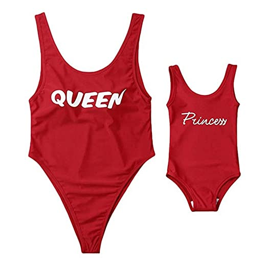 e633589b04 Mommy and Me One-Piece Bathing Suit Queen Princess Letter Print Monokini  Swimsuit, Red at Amazon Women's Clothing store: