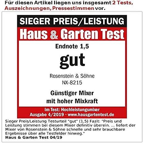 Rosenstein & Söhne - Batidora de vaso profesional (1500 W, 2 l ...