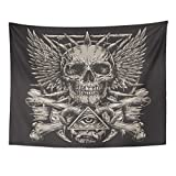 TOMPOP Tapestry Demon Heavy Metal Inspired Skull on Black Evil Hand Home Decor Wall Hanging for Living Room Bedroom Dorm 60x80 Inches